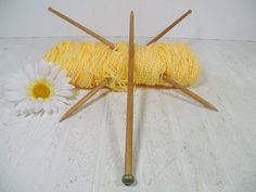 Vintage Wooden Large Knitting Needles Trio by DivineOrders on Etsy