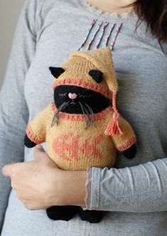 READY TO SHIP Handmade Dreamer Basil the Cat Hand Knitted