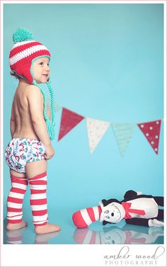 Baby Boy / Toddler Crochet Hat Diaper Cover & Legwarmers in Dr Seuss Thing 1 and Thing 2