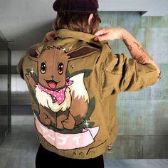 EEVEE denim jacket - custom denim and leather jackets on demand Pokemon Gifts, Cute Pokemon, Pokemon Fan, Pokemon Eevee, Custom Leather Jackets, Custom Jackets, Anime Outfits, Japan Fashion, Cosplay Girls