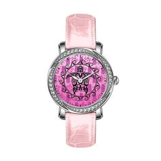 FDC Birthday gift Custom Women's Luxury Swarovski Crystal Silver Stainless Steel Watch with Pink Leather Strap Watch Black Tribal Turtle Watch
