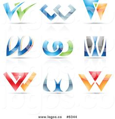 w logo design   Royalty-free vector clipart illustration logos of colorful letter w ...