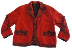 Vintage Red Wool Jacket With Black Decorative by SycamoreVintage, $10.00