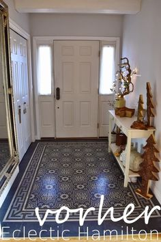 Entrance hall Entrance Cement tiles Tiles Winter decoration Built-in wardrobe, … – Floors – Decoration Entrance Decor, House Entrance, Entrance Hall, Hallway Decorating, Interior Decorating, Stair Treds, Interior Design Examples, Hallway Flooring, Wood Columns