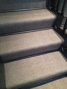 """Embedded image """"Taupe herringbone staircase runner installed in our studio love the bronze stair rods"""" Georgian Interiors, Georgian Homes, Staircase Runner, Stair Runners, Carpet Runner On Stairs, Striped Carpet Stairs, Victorian Hallway, Hallway Inspiration, Hallway Ideas"""