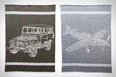 Air. Land. Sea. All three are represented by these Faribault x Modern Anthology Haynes Blankets. Each features an original technical illustration from JH Haynes & Co.'s iconic manuals woven directly into the wool. Whether you choose the P-51 Mustang, Toyota...