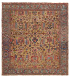 SULTANABAD, West Central Persian, 9ft 0in x 13ft 2in, Late 19th Century. Unforgettable juxtapositions of terra cotta and sapphire are illumined by an enchanting golden ground in this inspiring antique Persian Serapi Heriz rug.