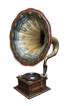 Look at the beautiful colours and design: Gramophone,Retro,Vintage Old Record Player, Record Players, Bric À Brac, Instruments, Oldschool, Vintage Design, Vintage Decor, Vintage Art, Retro Home Decor