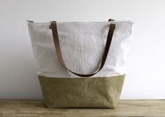 Metallic Gold & Natural Tote by threadandpapershop on Etsy, $68.00