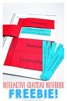 Interactive Grammar Notebook FREEBIE for types of sentences! Interactive noteboo… Interactive Grammar Notebook FREEBIE for types of sentences! 2nd Grade Grammar, 4th Grade Writing, Grammar And Punctuation, 4th Grade Reading, Basic Grammar, Fourth Grade, Second Grade, Grammar Activities, Teaching Grammar