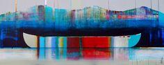 La douceur du temps, mixed media canoe painting by Sylvain Leblanc   Effusion Art Gallery + Cast Glass Studio, Invermere BC River Painting, Boat Painting, Contemporary Decor, Modern Decor, Art Gallery, Cast Glass, Canadian Artists, Studio, House Colors