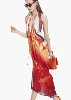 Vestido largo Arte naranja de seda - Etxart&Panno Online