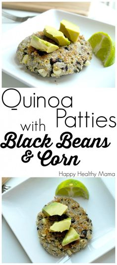 These Quinoa Patties with Black Beans and Corn are the BEST vegan patties ever.  They hold together well and are full of flavor.  Quinoa+Black Beans=tons of protein.  Easy, clean-eating recipe. This is one of my favorite healthy dinner recipes.  Add a salad and you have a meal!
