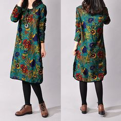 Vintage Mori Girl Style Floral Printed Casual Loose Long Sleeve Tops Baggy Dress | eBay