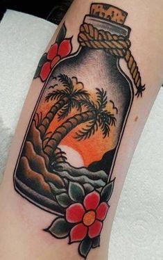 Old School Tattoo Designs, Tree Tattoo Designs, Tattoo Designs And Meanings, Tattoo Old School, Traditional Tattoo Beach, Traditional Tattoo Design, Traditional Sleeve, Traditional Tattoo With Meaning, Traditional Tattoo Leg Sleeve