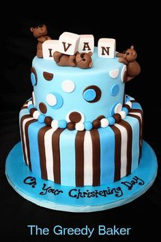 Blue & brown Christening Cake