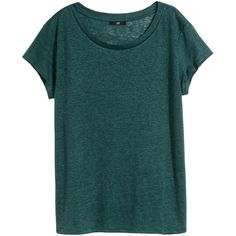 H&M Linen T-shirt ($20) ❤ liked on Polyvore featuring tops, t-shirts, petrol, green tee, linen tee, h&m tops, h&m and linen tops