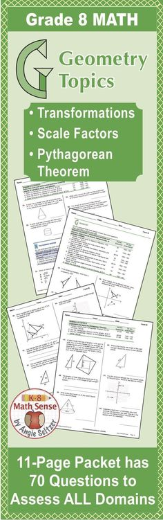 This Form B packet shows goals and 70 related review questions for transformations, the Pythagorean Theorem, scale factors, and all other Common Core State Standards for Grade 8. Parallel versions, Forms A, C, and D help you check progress four times duri