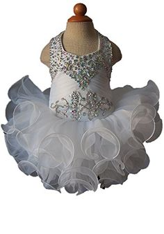Beiji Infant Girls Halter Pageant Dress Toddlers Crystals Cupcakes 8 US White * Click image for more details.