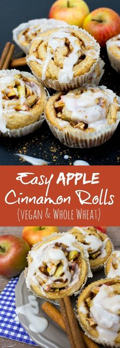 Easy apple cinnamon rolls with spelt flour. They come together in less than an hour. #vegan #cinnamonrolls #cinnamonbuns #dairyfree #cinnamonmuffins #wholewheat