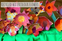 Recycled watercolour flower craft. So beautiful!