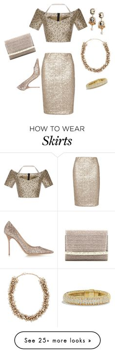 """""""Sequin Skirt IV"""" by nicole-trail on Polyvore featuring Dorothy Perkins, Etro, Jimmy Choo, Dolce&Gabbana, David Yurman and Valentino"""