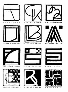 12-21 12-21 - Various designers, personal monograms, 1902. Monograms designed by Secession artists were reproduced in a 1902 exhibition catalogue.