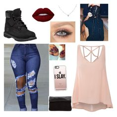 Normal day outfit by ashley-ochoa-martinez on Polyvore featuring polyvore, fashion, style, Glamorous, Timberland, Ice, Casetify, Lime Crime and clothing