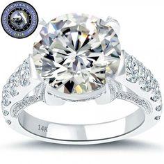 6.97 Carat I-SI2 EGL Certified Round Diamond Engagement Ring 14k White Gold