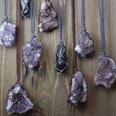 Hemp wrapped crystal necklaces!