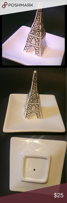Eiffel Tower Ring Holder Cute ring holder in the shape of the eiffel tower. Earrings can also be put in the tray. Can also be used as decoration :). Has some scuffing in the bottom, but overall in great condition! Rarely used, almost new. Jewelry