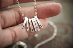 Stamped Bar Cluster Necklace Sterling Silver by SDMarieJewelry
