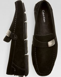 Calvin Klein Merl Black Suede Driver Shoes