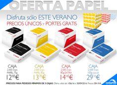 Este verano hemos lanzado una oferta exclusiva de Papel para oficina.  Por ejemplo puedes conseguir una caja de 2500 hojas de papel profesional Canon por tan sólo 12,85€ + iva, y los portes están incluídos. Más info en nuestra web y tlf 912987689