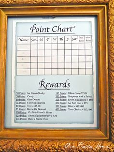 chore chart with points to earn rewards--blog post details rules and daily accountability