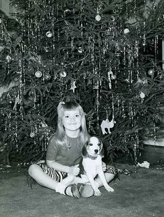 +~+~ Vintage Photograph ~+~+  Christmas Beagle and Me!
