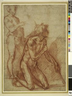 Study of two male figures for saints in a painting; one standing, the other kneeling, leaning on a staff Red chalk