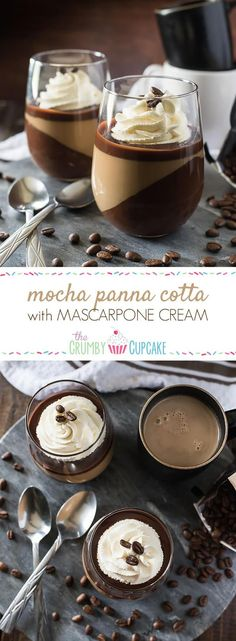 Mocha Panna Cotta with Mascarpone Cream #SundaySupper | The Crumby Cupcake | Bloglovin'