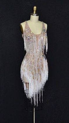Short, white latin dress with heavy stoning, fringe, and an open back from… Ballroom Costumes, Dance Costumes, Stage Outfits, Dance Outfits, Dance Fashion, Fashion Outfits, Pretty Dresses, Beautiful Dresses, Latin Ballroom Dresses