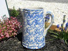 Spongeware Blue Stoneware Ironstone Pitcher by TheVintageMomma, $75.00