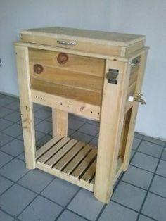 Mueble para Hielera de madera de madera al natural