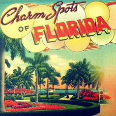 I love this!! beach decor art CHARM SPOTS of Florida12x12 photo retro vintage home decor print 1940s summer. $44.00, via Etsy.