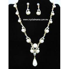 Set de collar y aretes en dorada de perlas con cristales estilo 48055