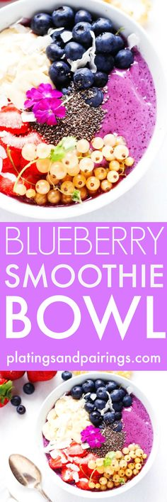 This Blueberry Yogurt Smoothie Bowl is the perfect way to start your day or refresh after a long workout | platingsandpairings.com
