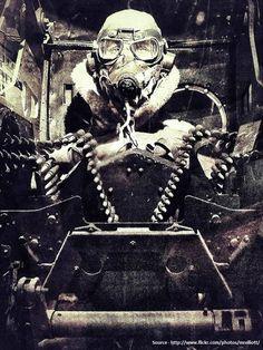 Turret gunner of a RAF LANCASTER bomber during WWII.