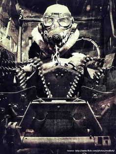 Turret gunner of a RAF LANCASTER bomber during WWII