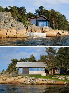 Lund+Slaatto Architects designed this modern cabin and a small annex that sits next to the water and on the edge of a rocky outcrop in Østfold, Norway. #ModernCabin #Architecture
