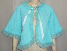Vintage Chic Lingerie Nylon Quilted Bed Jacket Turquoise Medium Ruffles Puffy by ShonnasVintage, $44.99