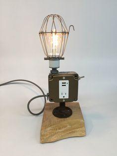 Man Cave Desk Lamp Cell Phone Charger Cell by ModernArtifactDecor