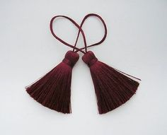 Burgundy Tassel Silk Handmade Fringe Trim Jewelry Making Sewing Embellishments